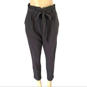 High Elastic Waist Tie Belt Capri Crop Dress Pants